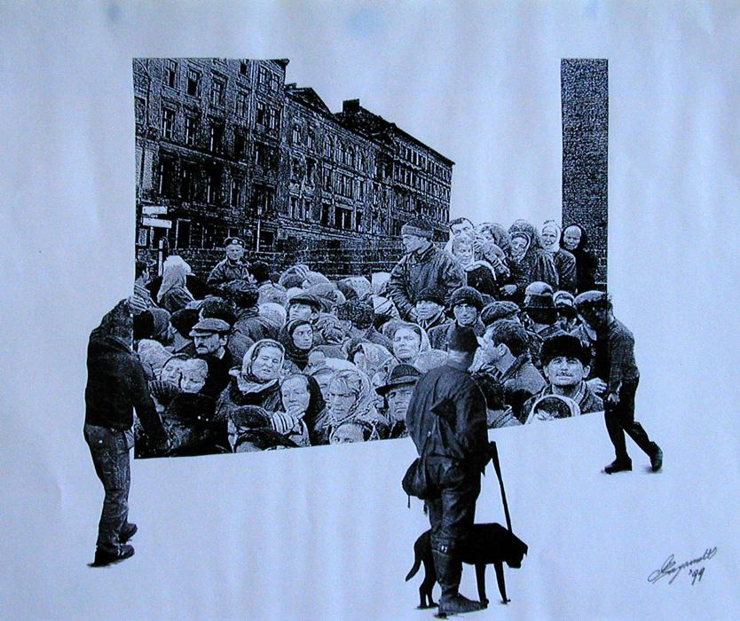 1999 Crowd carried out Collage on xerox copy 42 x 30cm