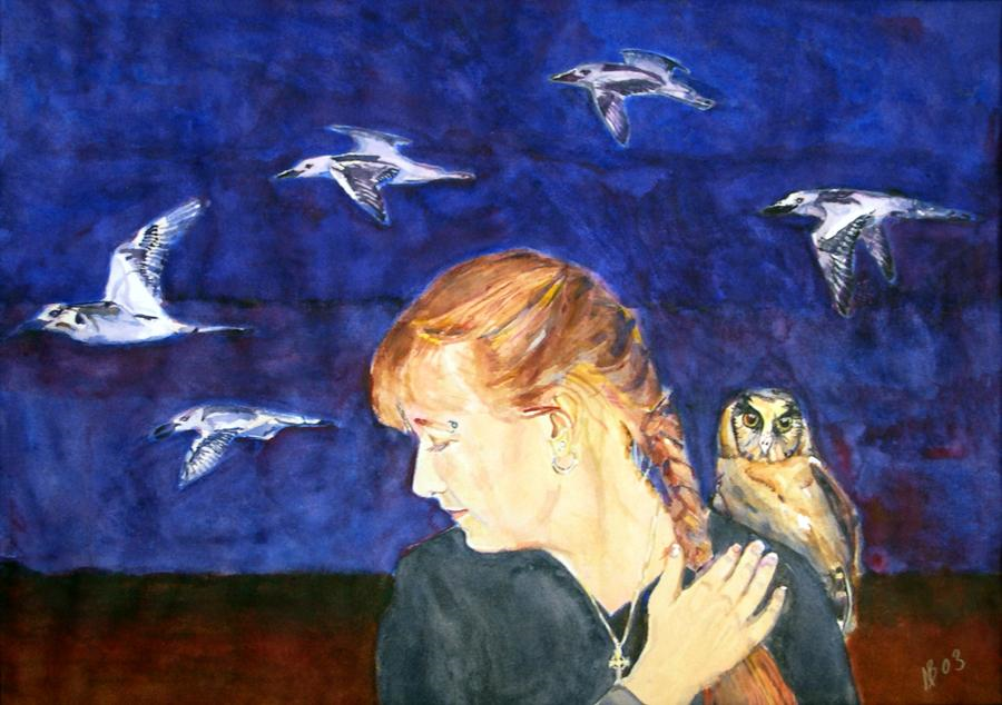2003 Unni and the Night birds Watercolour on paper 80 x 60cm