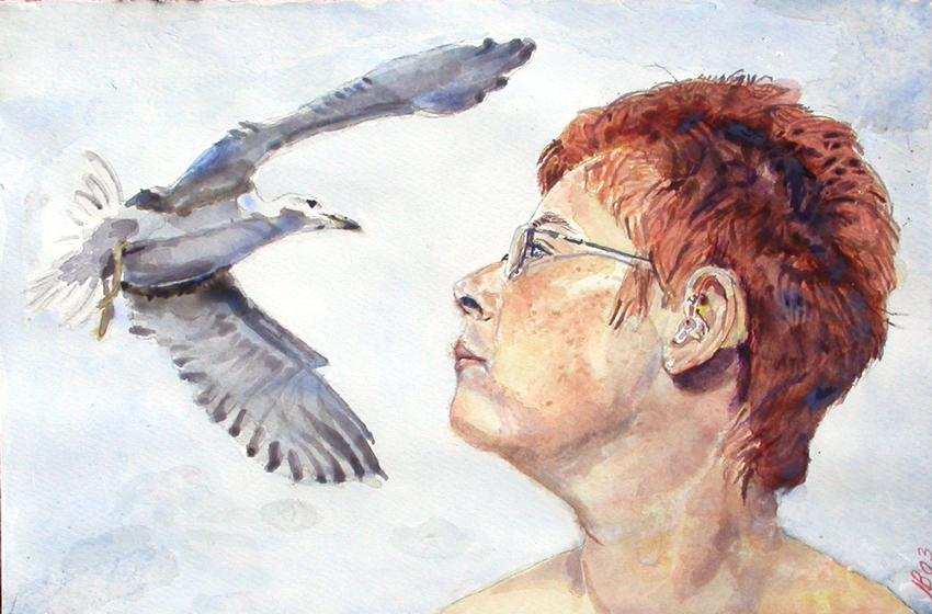 2003 Winnie & Seagull Water colour on paper 42 x 30cm