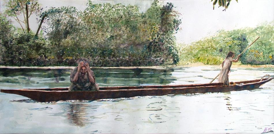 2004 Down stream into the light Water colour on paper 50 x 25cm