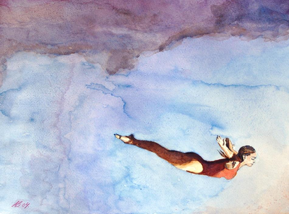 2004 Free fall Watercolour on paper 30 x 21cm