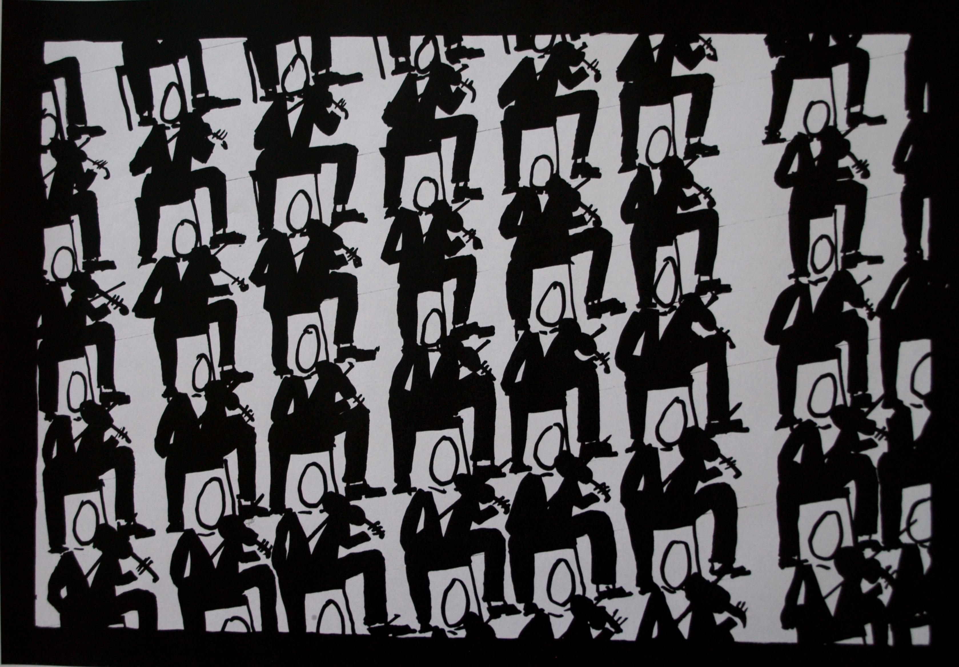 2008 Violinists Speed Marker on paper 42 x 21cm