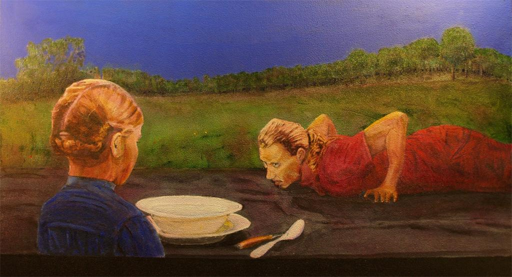 2008 Waiting for Supper Acrylic on canvas 80 x 50cm