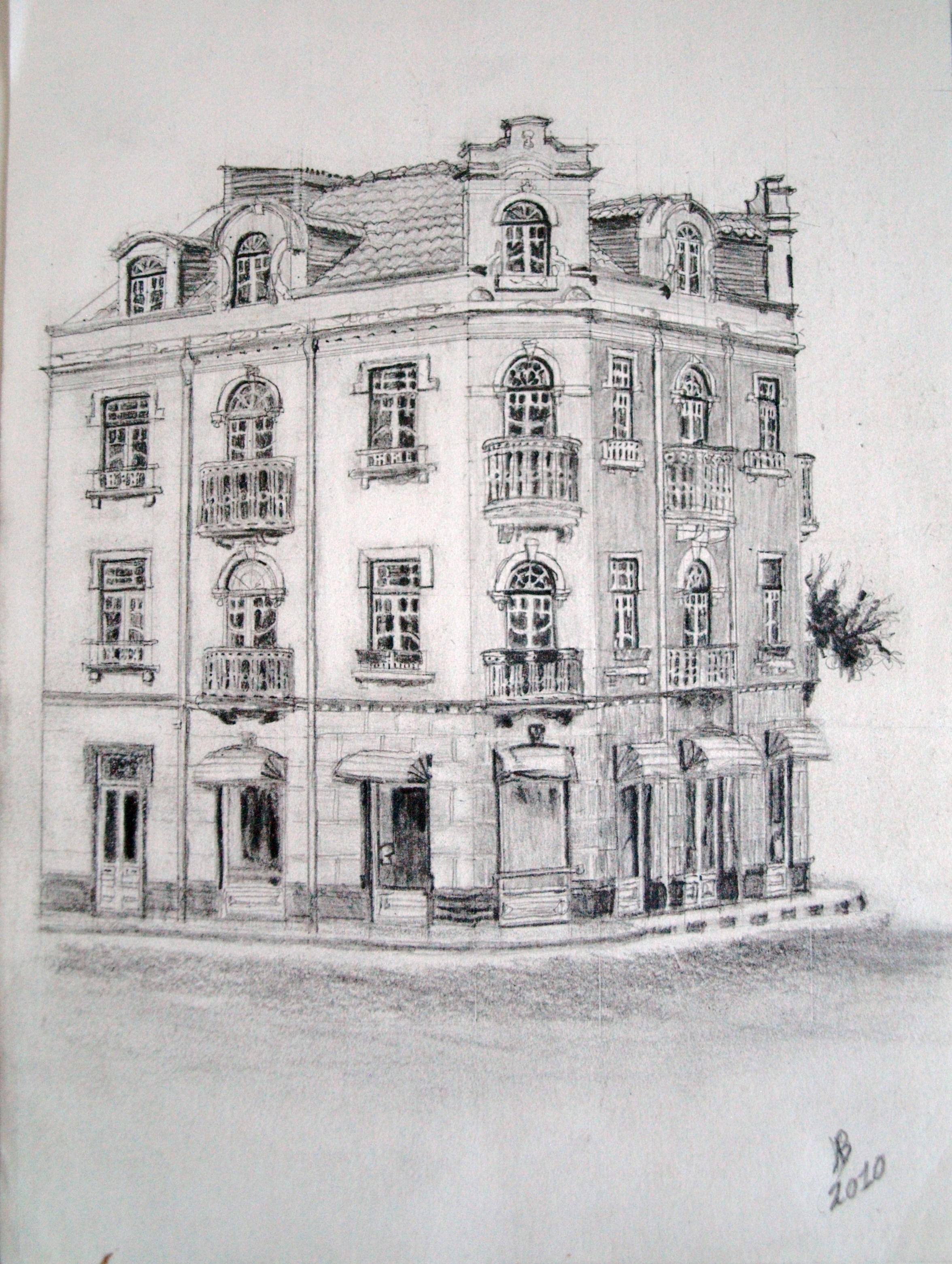 2010 Art Deco Building Drawing Pencil 21 x 30cm